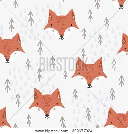 Cute Seamless Pattern With Cartoon Orange Fox Heads, Brown Fir Trees And Light Mountains. Funny Hand