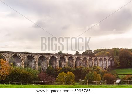 Hidden Gem In Wales During Autumn - Ty Mawr Country Park. Trails Are Running Beneath The Cefn Viaduc