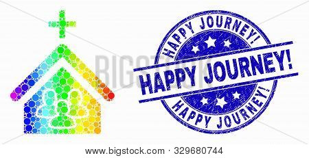 Pixelated Rainbow Gradiented Church People Mosaic Pictogram And Happy Journey Exclamation Seal Stamp