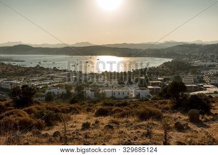 Panoramic Sunset View Of Gumbet Bay In Bodrum On Turkish Riviera. Bodrum Is A District And A Port Ci