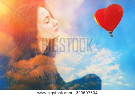 Double Multiply Exposure Portrait Of A Dreamy Cute Beautiful Young Girl With Closed Eyes, Clouds, Re