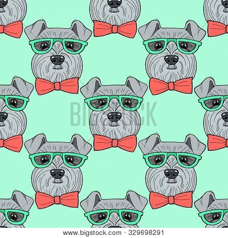 Cute Hipster Hand Drawn Vector Seamless Pattern Sketching Of Schnauzer. Use For Postcards, Print For