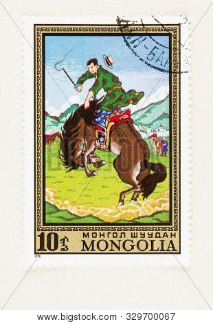 Seattle Washington - October 4, 2019: Painting Of A Mongolian Man Taming A Wild Horse, On Commemorat