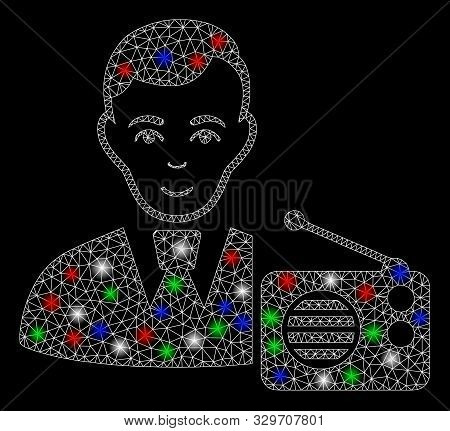 Bright Mesh Radio Dictor With Lightspot Effect. White Wire Carcass Triangular Mesh In Vector Format
