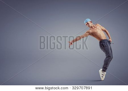 Young hiphop dancer. mixed media