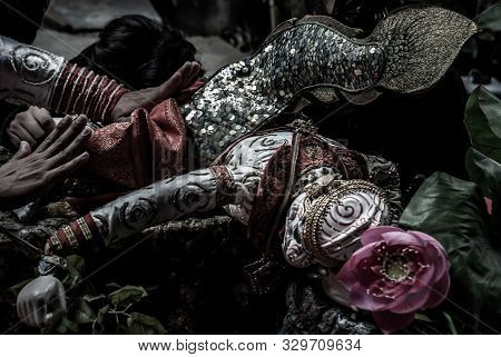 Bangkok, Thailand 07 Aug 2019 : Traditional Puppet Of Hanuman In Ramakien Or Ramayana Story With Tha