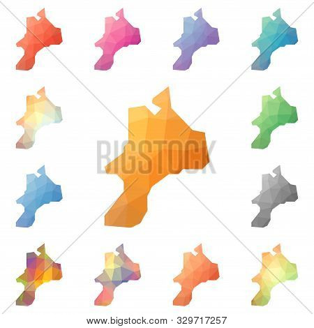 Mayreau Geometric Polygonal, Mosaic Style Island Maps Collection. Bright Abstract Tessellation, Low