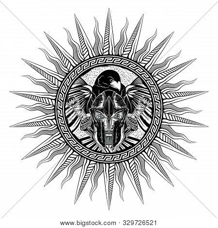 Vector Drawing Of A Greek Warrior In A Circular Traditional Ornament On The Background Of An Eagle W