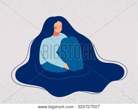 Depressed Woman Wallows In Her Sad Thoughts. Upset Woman Sits In A Puddle Full Of Tears, Her Hands C