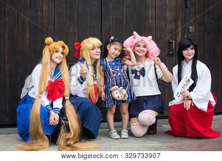 Moscow , Russia -aug 05 2018: Cosplayer As Characters In Japan Cosplay Festival .cosplayers Often In