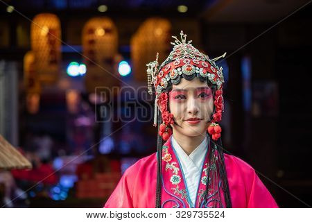 Chengdu, Sichuan Province, China - Oct 11, 2019 : Portrait Of A Yound Woman Dressed In Sichuan Opera