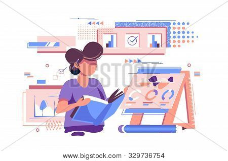 Statistician Working With Documents Vector Illustration. Woman Holding Paper Folder With Statistics
