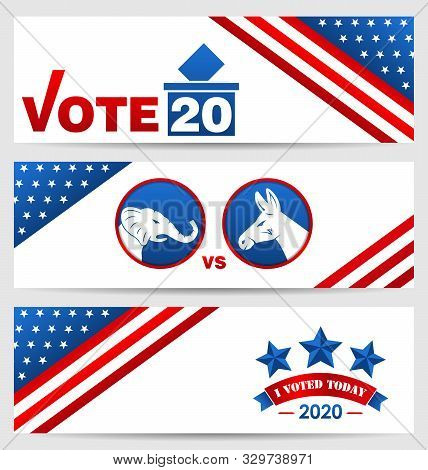 Presidential Election 0f Usa 2020. Vote, Voting. Set American Advertising Banners
