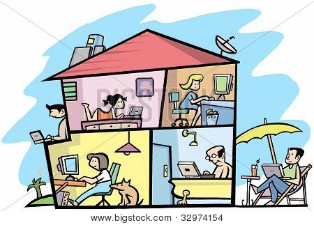 A view Inside of a wireless  building - Funny illustration 2