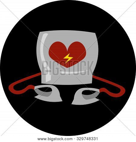 Defibrillation Apparatus. Logo On A Black Background. Cardiopulmonary Resuscitation, Health, Ambulan