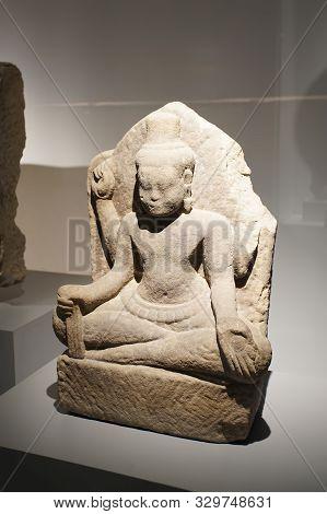 Prachin Buri, Thailand - August 26, 2019: Bodhisattva Avalokiteshvara Khmer Art In Thailand (bayon S