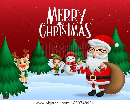 Christmas In Snow Vector Banner Background. Merry Christmas Greeting Text With Xmas Characters Of Sa