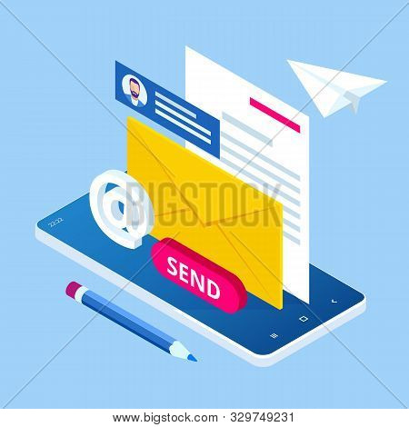 Isometric Email Inbox Electronic Communication. E-mail Marketing. Receiving Messages. New Mail Recei