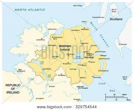 Simple Map Of Northern Ireland And The Northern Part Of The Republic Of Ireland