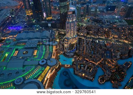 Dubai, Uae - April 8. 2018. View From Burj Khalifa To City At Night.