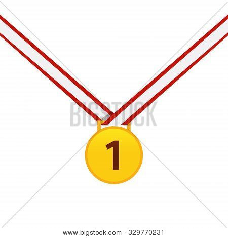 Gold Medal Isolated On A White Background. Gold Medal For First Place. Gold Medal Flat Icon