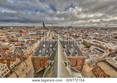 View Over Historic City Centre Of Groningen Seen From Downtown Church Tower