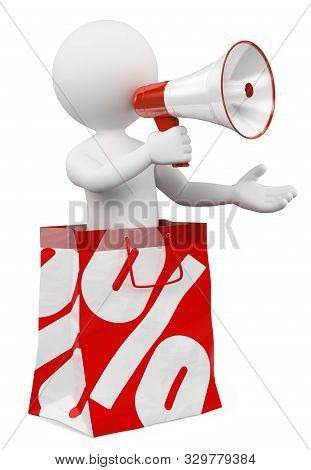 3d White People Illustration. Man Into A Sale Paper Bag With Percent Symbol. Isolated White Backgrou
