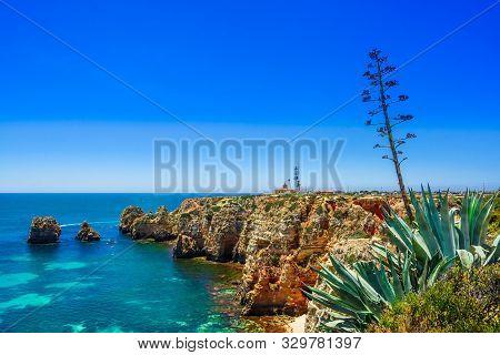 View On Rocks Called Farol Da Ponta Da Piedade - Coast Of Portugal, Algarve