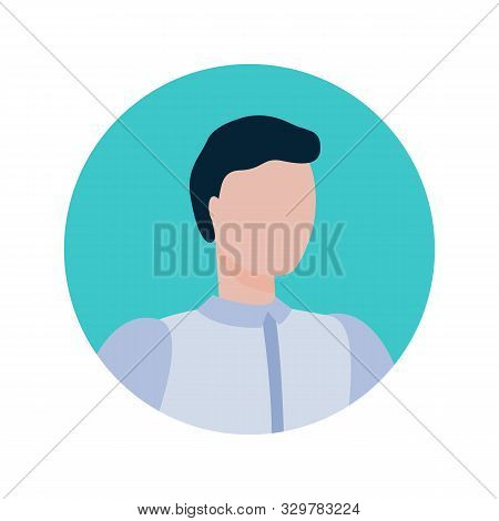 Broker Face Portrait In Round Frame Isolated Cartoon Style Person. Vector Faceless Male Online Consu