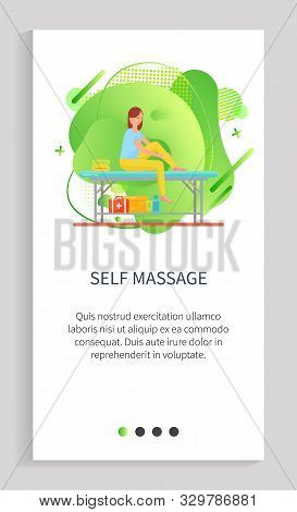 Self Massage Vector, Lady Massaging Her Feet And Ankles With Help Of Lotions And Oils, Table For Cli