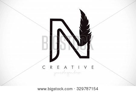 N Feather Letter Logo Icon Design With Feather Feather Creative Look Vector Illustration In Black An