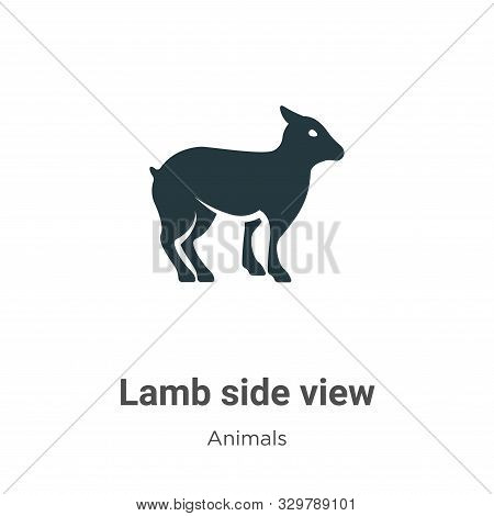 Lamb Side View Vector Icon On White Background. Flat Vector Lamb Side View Icon Symbol Sign From Mod