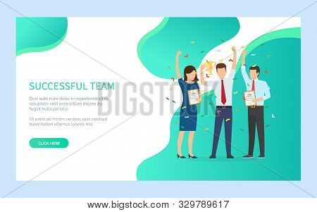 People Winner, Successful Team, People Holding Award And Diploma Standing Together, Portrait View Of