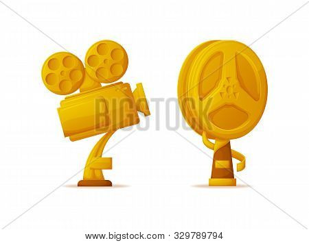 Trophy In Form Of Camera And Bobbin, Isolated Icons Set. Golden Reel Reward For Directors And Actres