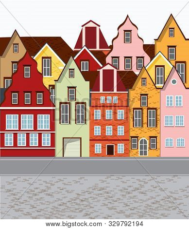 Old Retro Town With Colorful Buildings And Cobblestone Paved Road In Front. Flat Cartoon Vector
