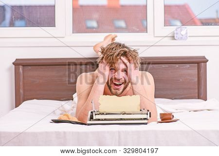 Daily Routine Of Writer. Man Writer Lay Bed With Breakfast Working. Writer Handsome Author Used Old