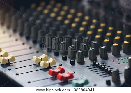Sound Audio Analog Of Radio Soundboard Board For Engineer Editing Music Mix Production