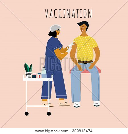 Children Vaccination And Immunization Concept. Child On Mothers Knees Gonna Make A Vaccine Injection