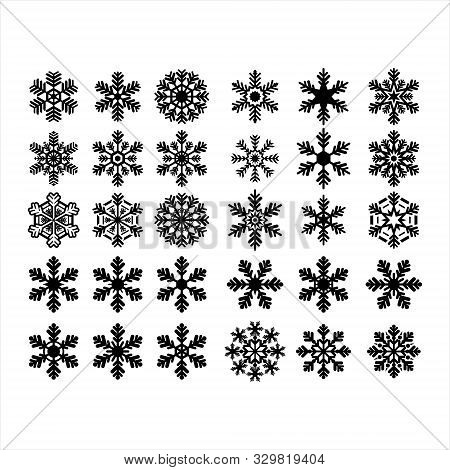 Collection Of Isolated Winter Black Snow Against A White Background. Snowflake Icon. Collection Of S