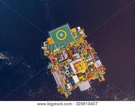 Offshore Oil Rig Installation Of Equipment Sea, Aerial Top View