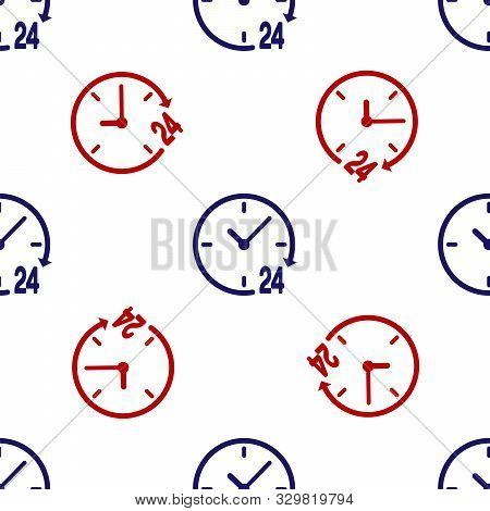 Blue and red Clock 24 hours icon isolated seamless pattern on white background. All day cyclic icon. 24 hours service symbol. Vector Illustration poster