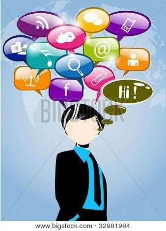 Men with thought speech bubble with social network sign on world map background. EPS 10. Social media and social network concept.