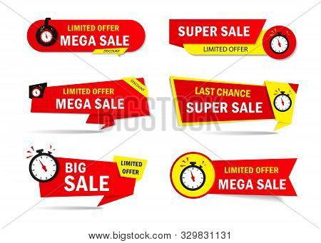 Limited Offer Sale Tags With Clock, Time. Special Discount Price Badge For Promotion, Retail, Shop.