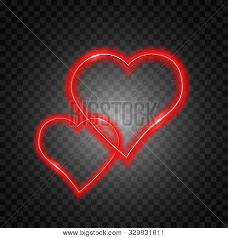 Bright Heart. Neon Sign. Retro Neon Heart Sign On Transparent Background. Design Element For Happy V