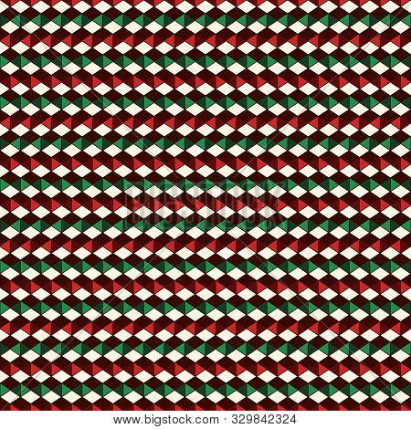 Seamless Pattern In Christmas Traditional Colors With Polygons Tessellation. Repeated Diamonds Backg