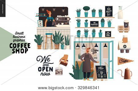 Coffee Shop - Small Business Illustrations - Set - Modern Flat Vector Concept Illustration Of A Coff