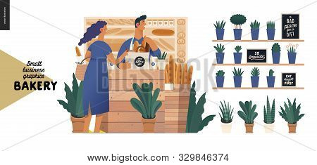 Bakery -small Business Illustrations -bakery Vendor And Buyer -modern Flat Vector Concept Illustrati