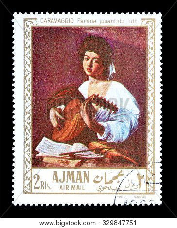 Cancelled Postage Stamp Printed By Ajman, That Shows Painting Portrait Of Woman With The Lute By Car