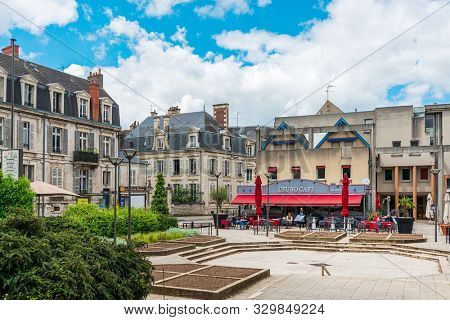 BOURGES, FRANCE - May 10, 2018: Restaurants in Old Town Bourges, France