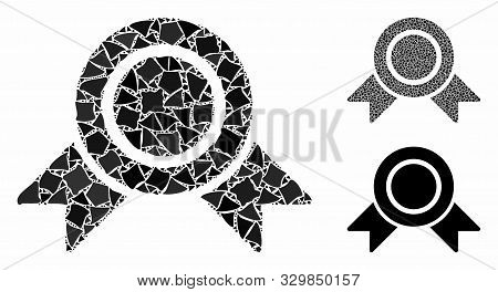 Honour Medal Mosaic Of Rugged Items In Variable Sizes And Color Tones, Based On Honour Medal Icon. V